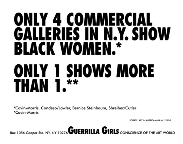 Only 4 Commercial Galleries in NY Show Black Women1986