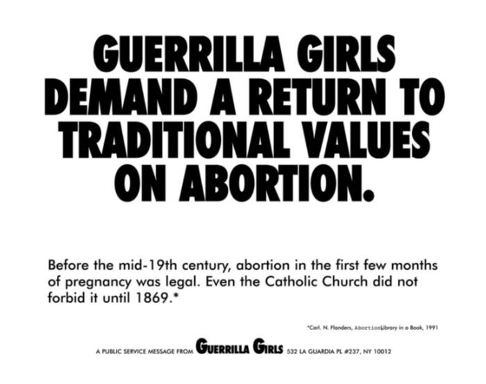 Guerrilla Girls Demand a Return to Traditional Values of Abortion 1992